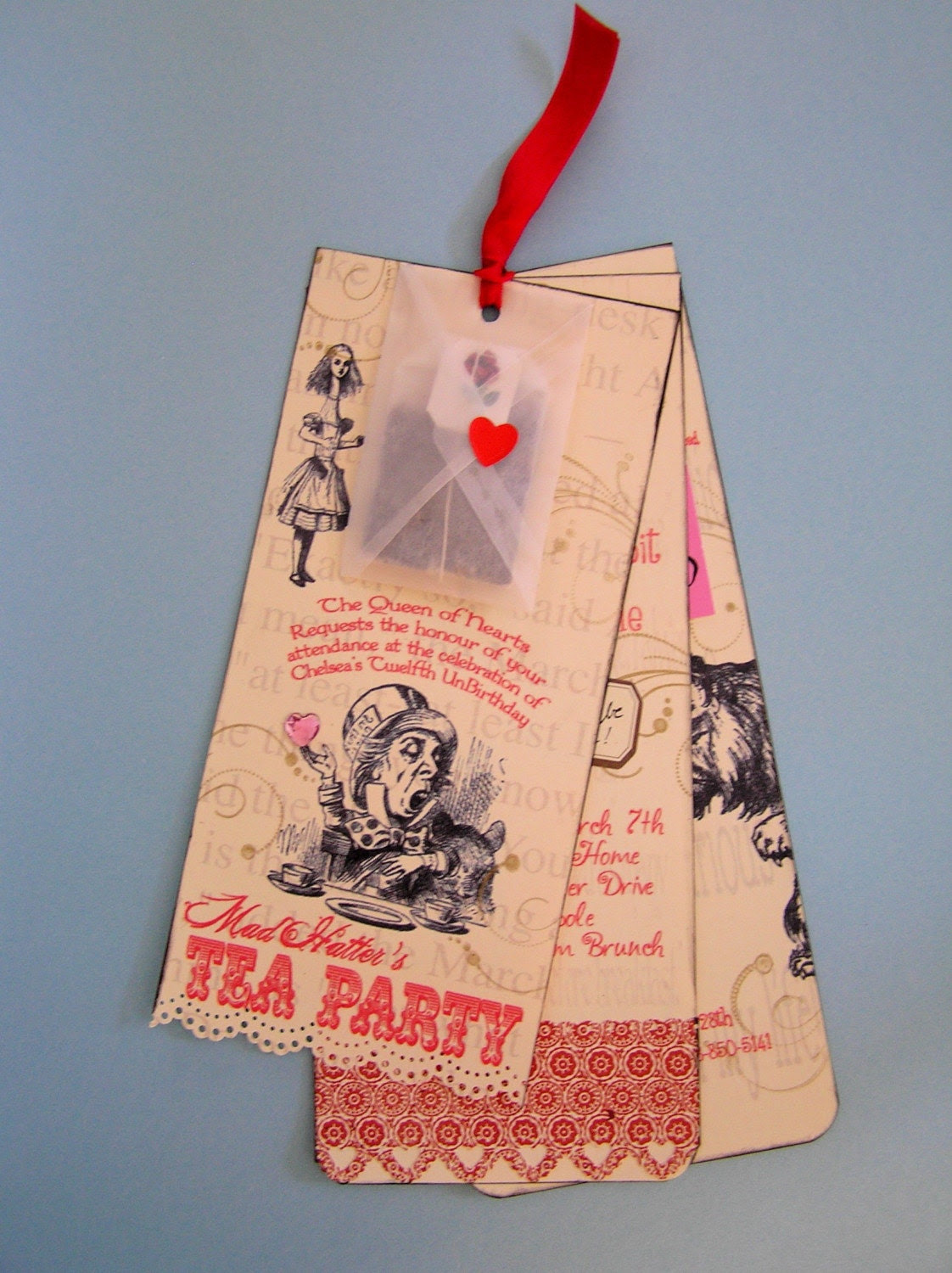 Six Deluxe Alice in Wonderland Tea Party Custom Invitations - Ready to Mail