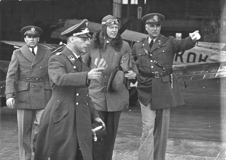 Charles Lindbergh (third from left) and German officers during one of his visits to Germany. The famous pilot spoke out against America's entry into World War II.