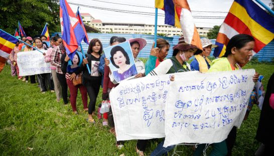 Villagers from Koh Kong province march towards the National Assembly earlier this month to deliver a petition calling for government intervention in a land dispute.