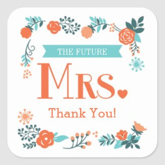 Future Mrs. Floral Bridal Shower Favor Sticker