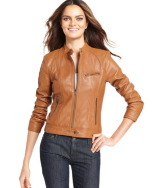 Kenneth Cole Reaction Band-Collar Leather Motorcycle Jacket