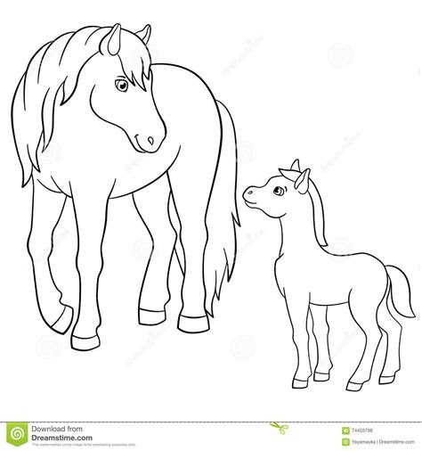 coloring pages farm animals mother horse  foal