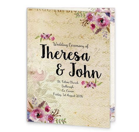 Antique Floral Mass Booklet Cover   Loving Invitations