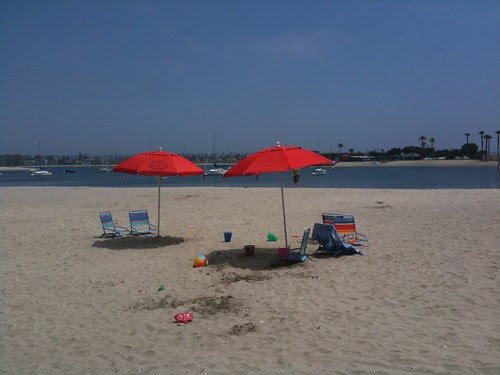 On Mission Bay's main beach