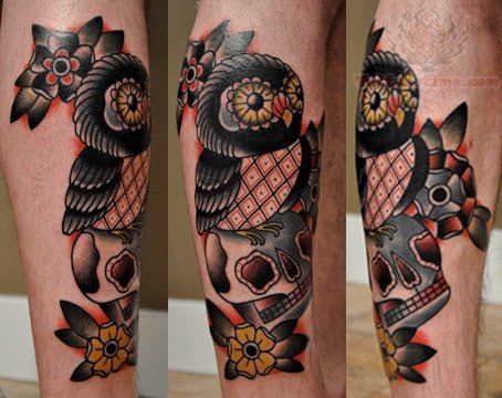 Owl Sitting on Skull Tattoo On Leg