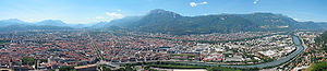 Panorama view over Grenoble, Isère departement...