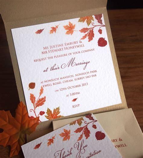 Autumn Wedding Invitation   inside the pocket   Wedding