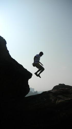 Badami Rock Climbing Jump