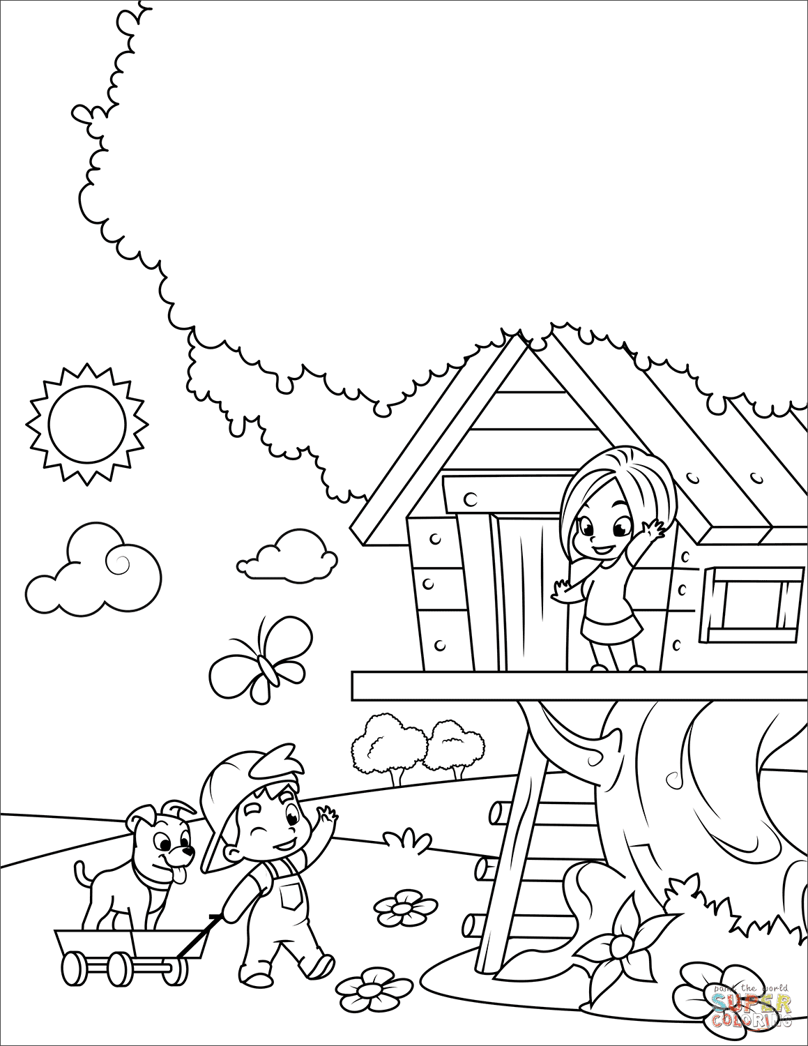 the Boy and Girl Playing in a Tree House coloring pages to view printable
