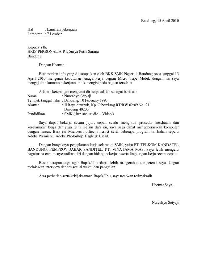 Contoh surat lamaran pekerjaan pt.sps