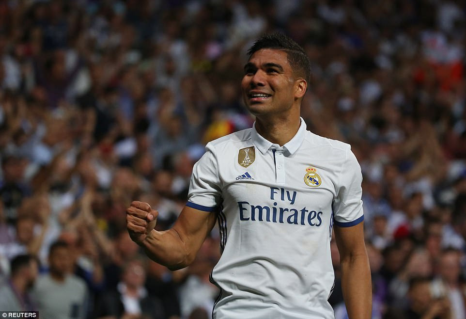 Casemiro celebrates his strike which was richly deserved after it was Madrid who made the brighter start to proceedings