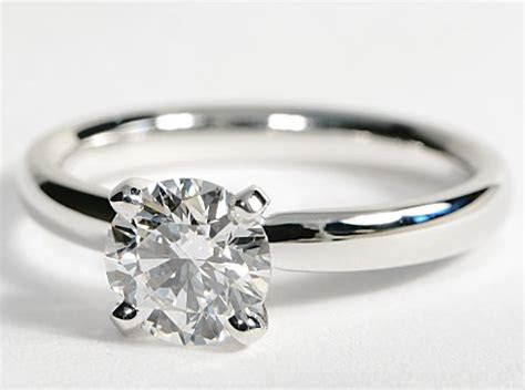 Classic Solitaire Comfort Fit 14k White Gold Engagement