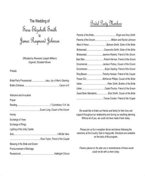 10  Wedding Program Templates   Free Sample, Example
