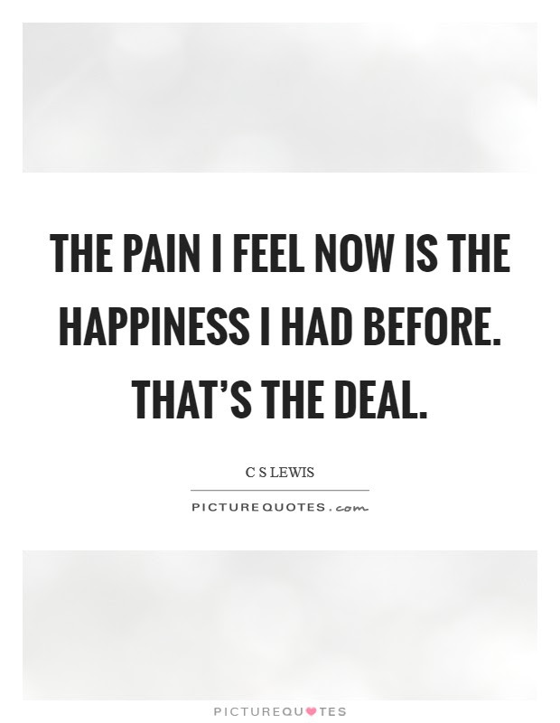 The Pain I Feel Now Is The Happiness I Had Before Thats The