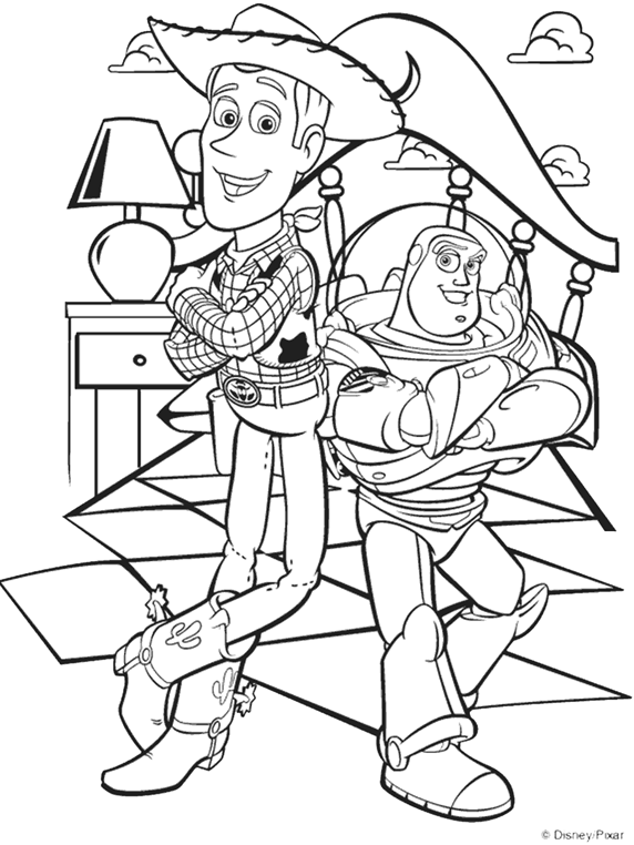 Disney Toy Story Woody and Buzz Coloring Page | crayola.com