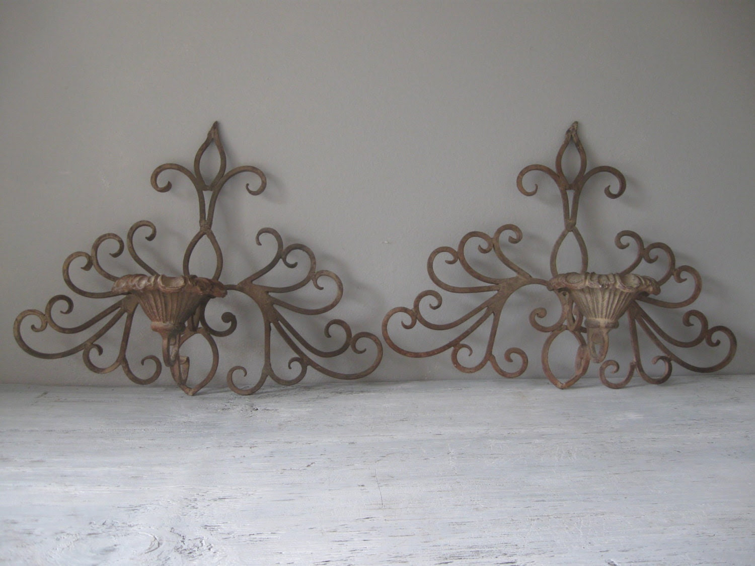 Vintage Wrought Iron Candle Sconces / Wall Decor by thefeedstore