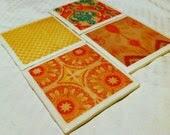 Handmade Coaster Set - Marigold & Coral - KalesKreations