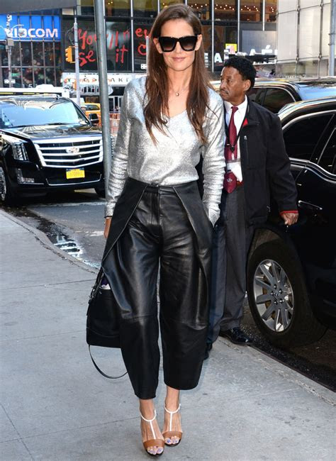 katie holmes wears  metallic top  leather culottes
