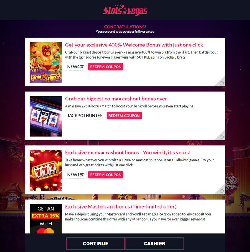 Slots of vegas promo codes