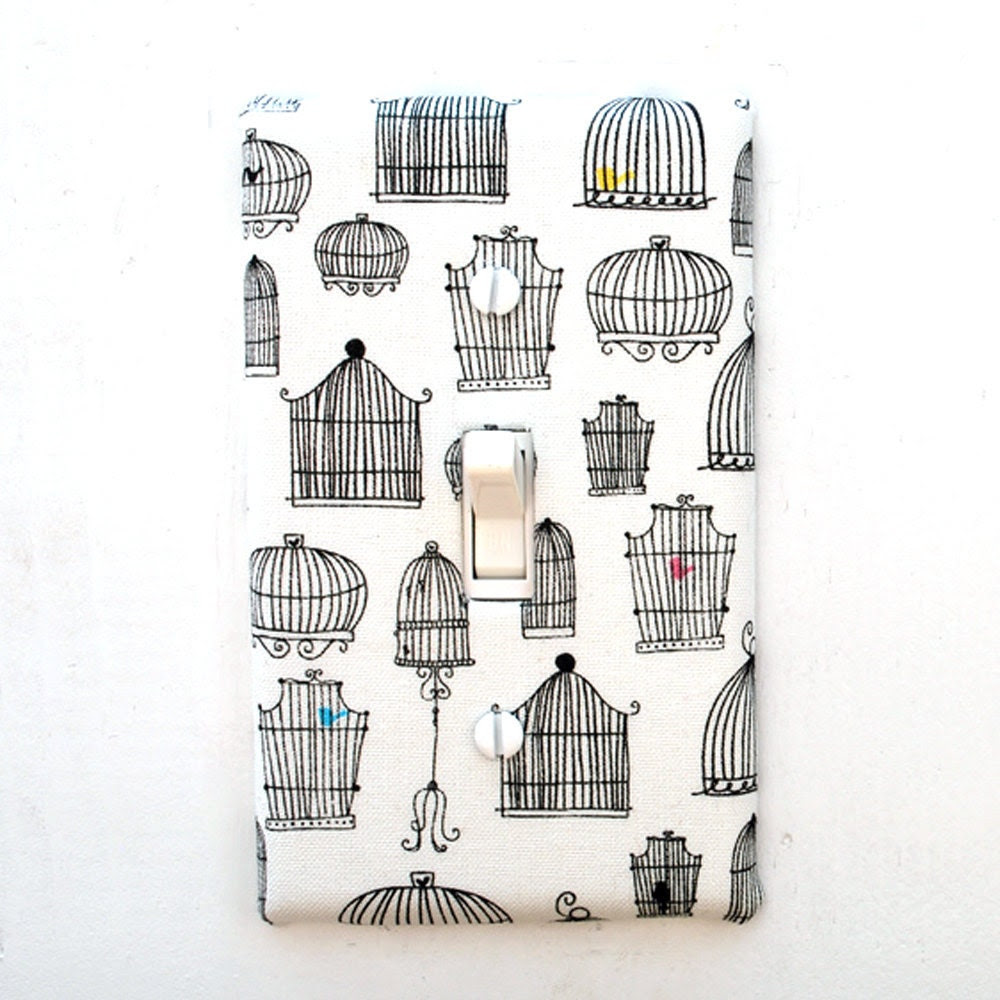 Light Switch Plate Cover, wall decor - white with black bird cages, bird, tweet, aviary, audobon, caged