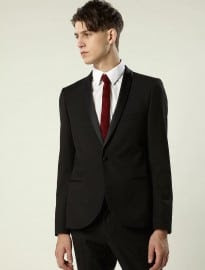 Topman Black Micro Shawl Suit Jacket