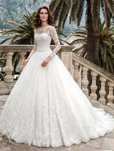 Romance Lace Wedding Dresses 2019 Ball Gowns Long Sleeves
