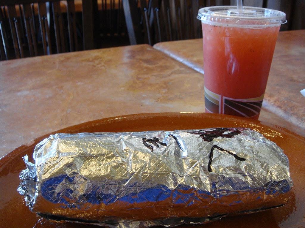 Burrito and Strawberry Agua Fresca