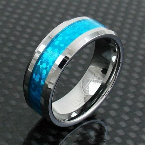 8mm Tungsten Ring Hawaiian Blue Opal Center Wedding Band