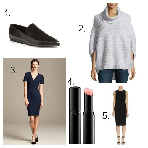 Vince Loafers - Neiman Marcus Cashmere Sweater - Roland Mouret for Banana Republic Dress - Sephora Collection Balm - Theory Sheath Dress