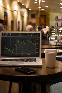 Graph on computer in Coffee Shop