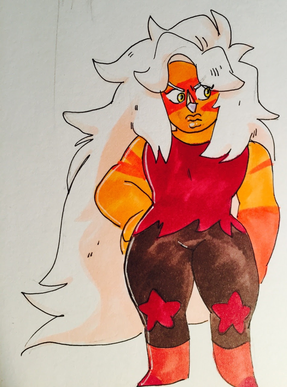 i drew what i thought jasper would look like if she swapped places/ body types with amethyst