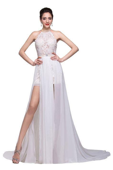 Halter Neck Lace Chiffon Backless Prom Dress Slit Summer