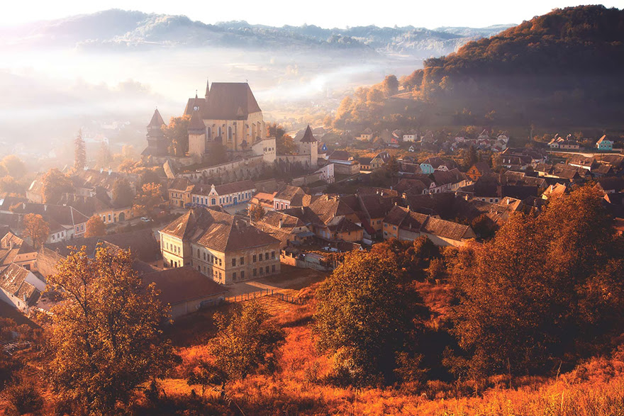 Autumn Morning Fog In The Village Biertan
