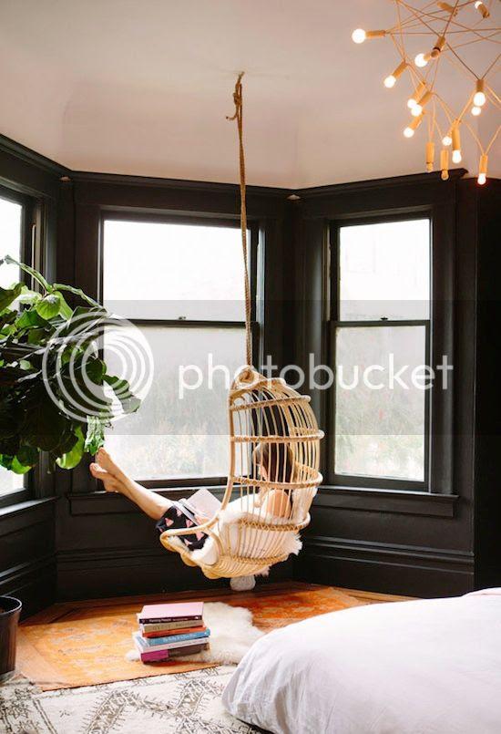 ETC INSPIRATION BLOG ART DESIGN HOME INTERIOR WICKER HANGING CHAIR SAN FRANCISCO APARTMENT BLACK WALLS OH HAPPY DAY BLOG BAY WINDOW Jenna Lyons Home Inspiration photo ETCINSPIRATIONBLOGARTDESIGNHOMEINTERIORWICKERHANGINGCHAIRSANFRANCISCOAPARTMENTBLACKWALLSOHHAPPYDAYBLOG.jpg