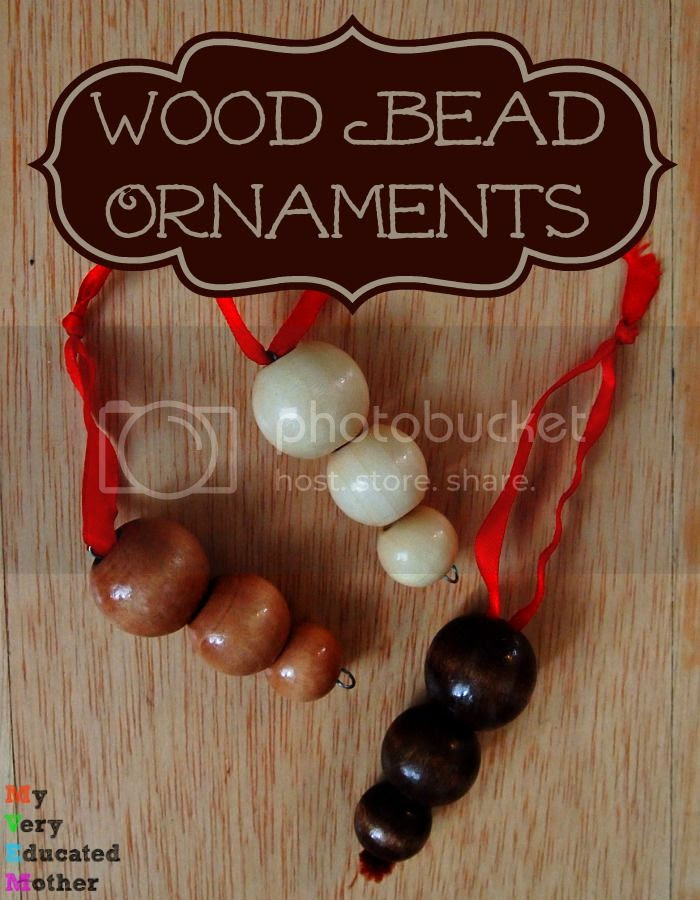#NUO2014 Wood Bead Ornaments #Christmas #crafts #rustic
