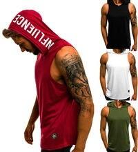 Men Hoodies Tank Top Sleeveless Muscle Gym Sport  Bodybuilding