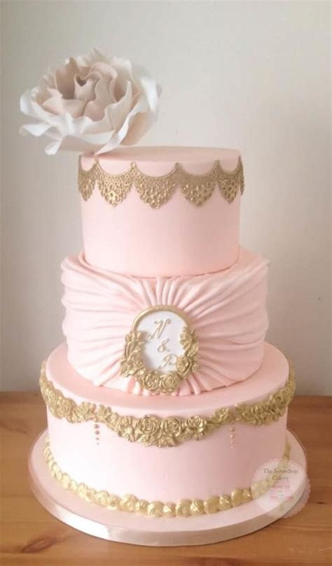 Blush and Gold   Cake by The Snowdrop Cakery   Fab cakes