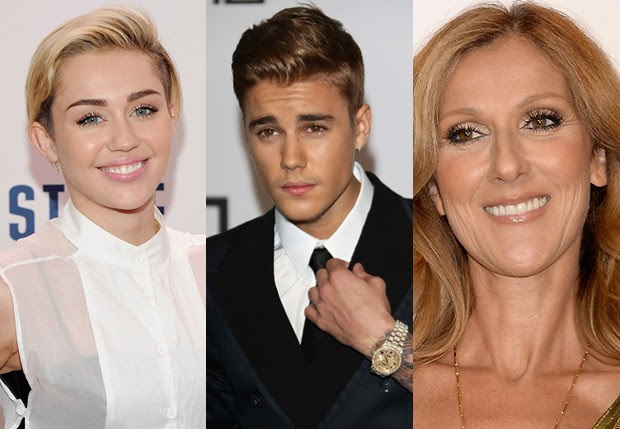 Miley Cyrus, Justin Bieber e Celine Dion (Foto: Getty Images)
