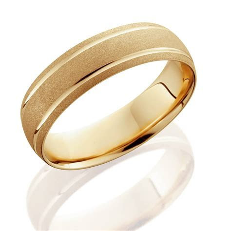 14K Yellow Gold Mens Brushed Dome Double Line Wedding Band 6mm