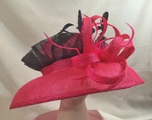 "Pink & Navy Blue Sinamay Kentucky Derby Hat ""Olivia"""