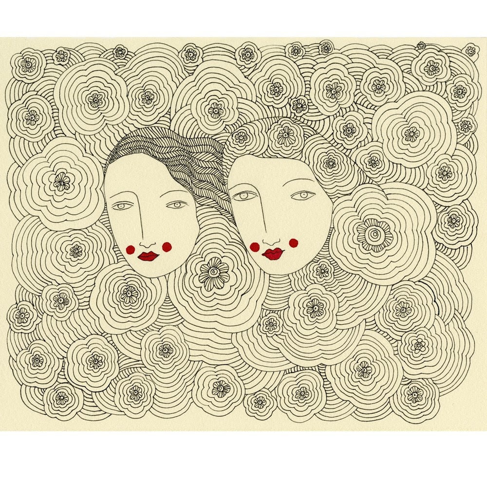 Spring Sisters-Archival Print   SALE... Buy two, get one free