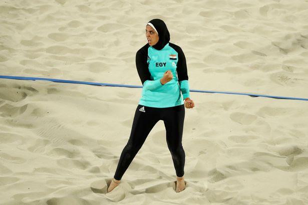 Doaa Elghobashy (EGY) of Egypt reacts