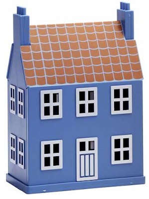 blue house-shaped bank