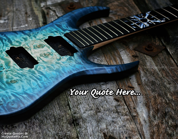 Write Quote On Metalic Blue Electric Guitar Picture