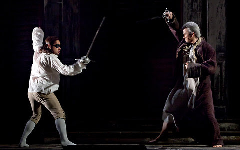 """Mariusz Kwiecien, left, Stefan Kocan in a dress rehearsal of the Metropolitan Opera's """"Don Giovanni"""" on Monday. He injured his back at rehearsal and was scratched from Thursday's opening night."""