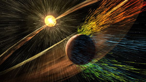 An artist's concept of a solar storm hitting Mars and stripping ions away from the Red Planet's upper atmosphere.