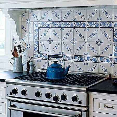handpainted tile blacksplash