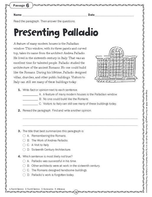 Prehension Skills Short Passages For Close Reading Grade 6