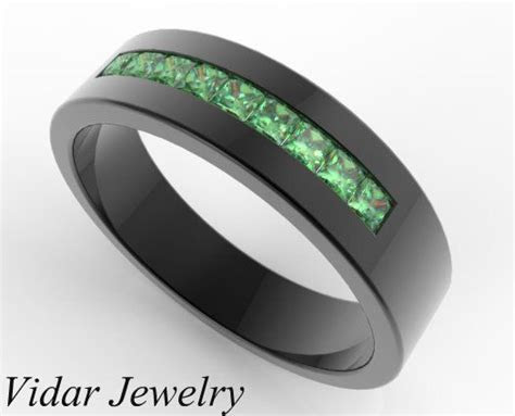 Unique Wedding Band For Men,Black Gold Wedding Ring,Green