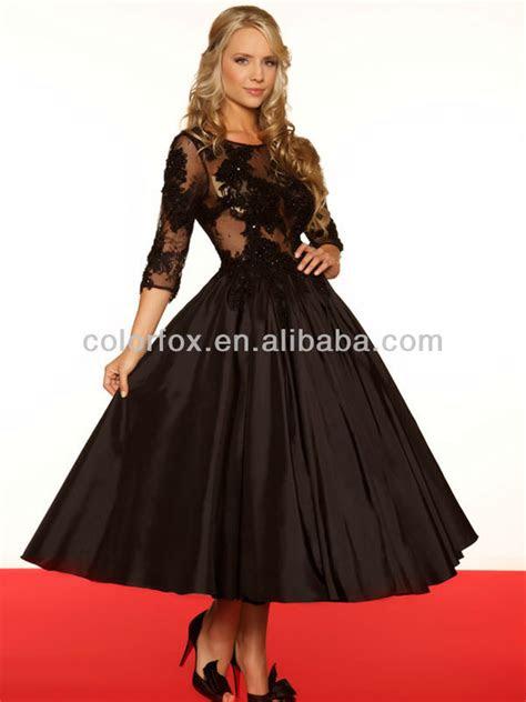black lace appliqued  quarter length sheer sleeves